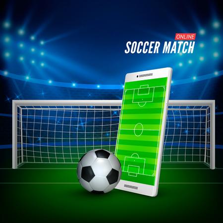 Scommesse sportive online. Scommesse il concetto di banner web. Sfondo stadio di calcio e smartphone con campo da calcio sullo schermo e palla. Illustrazione vettoriale Vettoriali