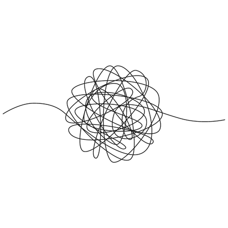 Hand drawn tangle of tangled thread. Sketch spherical abstract scribble shape. Vector illustration isolated on white background