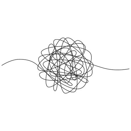 Handgezeichnetes Gewirr aus verwickeltem Faden. Skizzieren Sie sphärische abstrakte Gekritzelform. Vektor-Illustration isoliert auf weißem Hintergrund Vektorgrafik