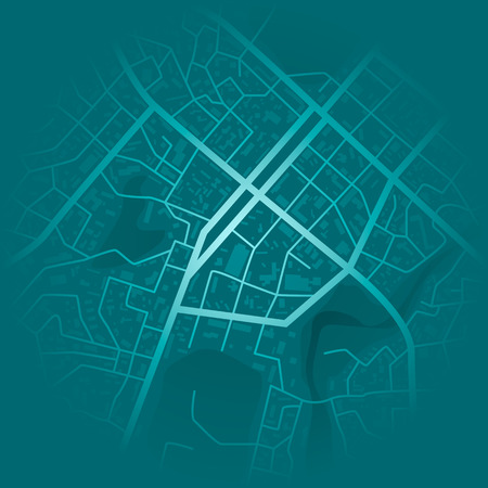 Print with town topography. Abstract blue city map. City residential district scheme. City district plan. vector