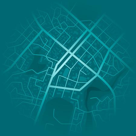 Stampa con la topografia della città. Mappa della città blu astratta. Schema di quartiere residenziale della città. Piano distrettuale della città. vettore