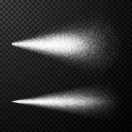 Water spray. Airy spray and water hazy mist. Sprayer fog isolated on black transparent background. Vector illustration Illustration