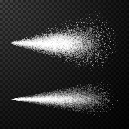 Water spray. Airy spray and water hazy mist. Sprayer fog isolated on black transparent background. Vector illustration Ilustração
