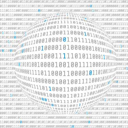 Binary data view. cybersecurity. binary code concave hemisphere with allocated key bits. vector Illustration