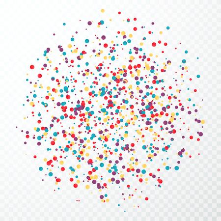 Colorful circular confetti splash. Vector illustration isolated on transparent background