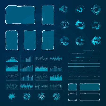HUD elements set. Graphic abstract futuristic hud pannels. Vector Ilustração