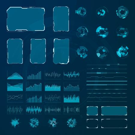 Set di elementi HUD. Pannelli hud futuristici astratti grafici. Vettore