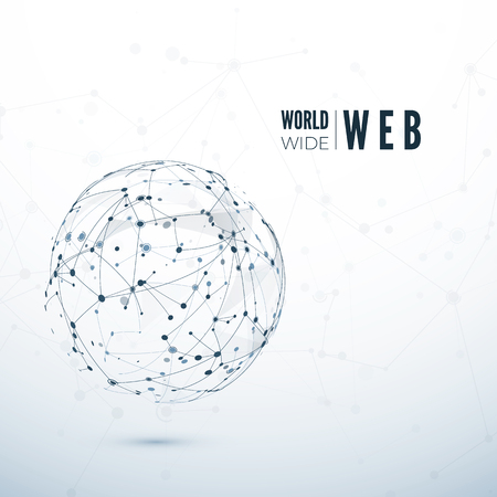World Wide Web. Global data transfer concept. Vector illustration