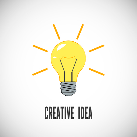 Creative idea. Light bulb with rays shine. Business or start up concept. Energy and idea symbol. Vector illustration