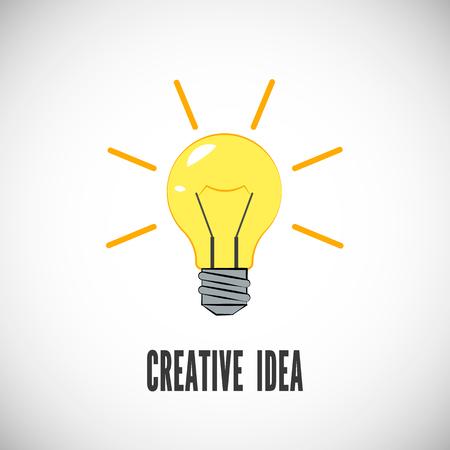 Idea creativa. Bombilla con rayos brillan. Concepto de negocio o puesta en marcha. Símbolo de energía e idea. Ilustración vectorial