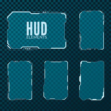 Abstract hi tech sci fi futuristico modello di layout design. Set di elementi HUD. Illustrazione vettoriale isolato su sfondo trasparente