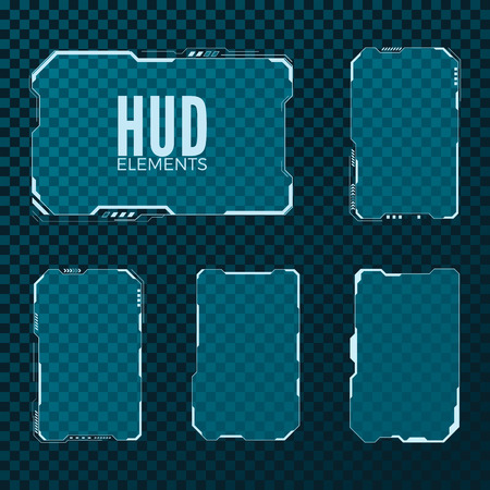 Abstract hi tech sci fi futuristic template design layout. HUD element set. Vector illustration isolated on transparent background