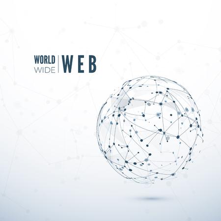 World Wide Web. Struttura astratta della rete globale. Illustrazione vettoriale