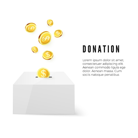 Donation. Donate money concept. Golden coin fund in money box. Vector illustration isolated on white background Standard-Bild - 111881618