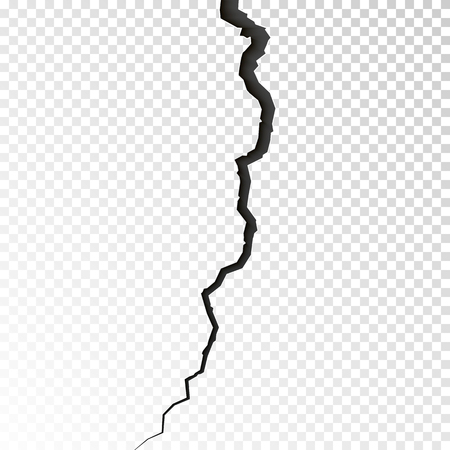 Surface cracked ground. Sketch crack texture. Split terrain after earthquake. Vector illustration isolated on transparent background