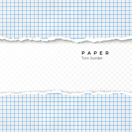 Torn Edge of Squared Paper. Torn Piece of Squared Paper from Notebook. Blank Page Isolated on Transparent Background. Vector illustration Banque d'images - 108106164