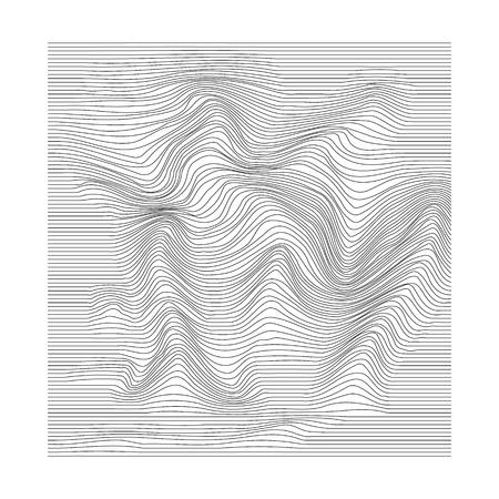 Abstrakte Bewegung gewellte Oberfläche. Streifendeformationshintergrund. Verzerrte monochrome Wellenstruktur. Vektor-Illustration