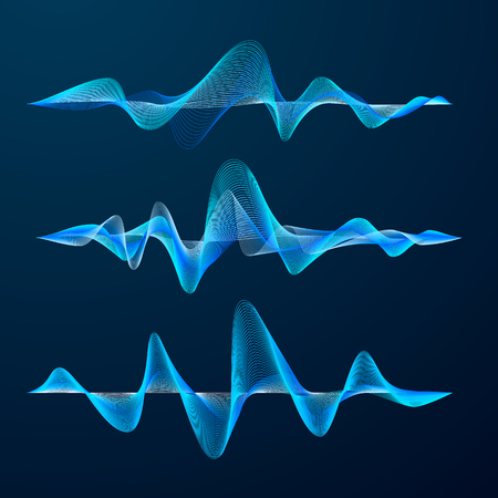 Blue sound waves track design. Set of audio waves. Abstract equalizer. Vector illustration isolated on dark background
