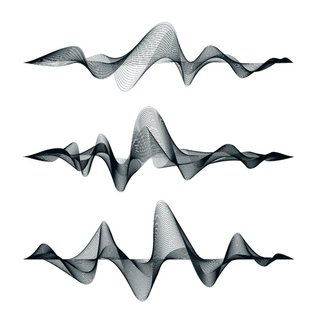 Sound waves track design. Set of audio waves. Abstract equalizer. Vector illustration