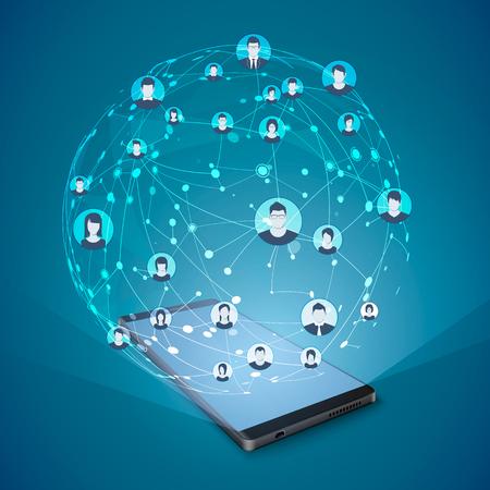 Modern social media concept. Mobile Internet and social networking. Vector illustration