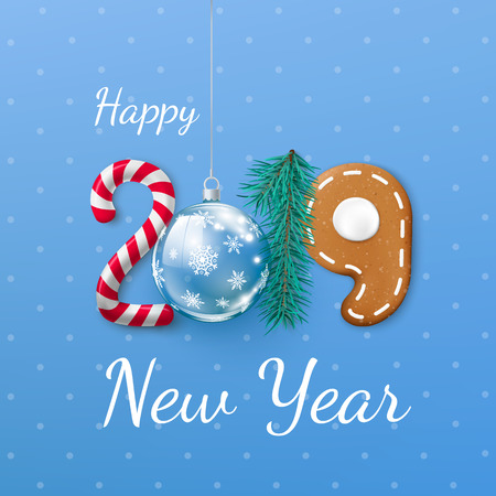 Happy New Year 2019 banner. Creative festive lettering. Candy and Christmas ball pine and gingerbread cookie. Vector illustration isolated on blue background