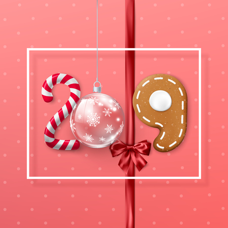 New Year 2019 banner with white frame. Creative festive lettering. Candy and Christmas ball ribbon with bow and gingerbread cookie. Vector illustration