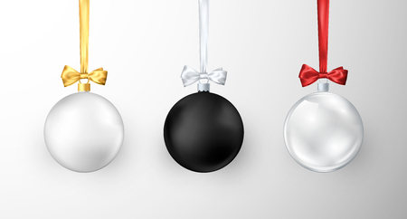 Set of Christmas balls. Realistic glossy xmas and new year tree decorations. White black and glass traditional holiday realistic Christmas balls. Vector illustration  イラスト・ベクター素材
