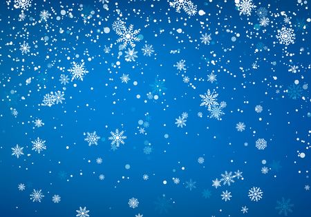 Snowfall Christmas background. Flying snow flakes and stars on winter blue sky background. Winter wite snowflake template. Vector illustration  イラスト・ベクター素材