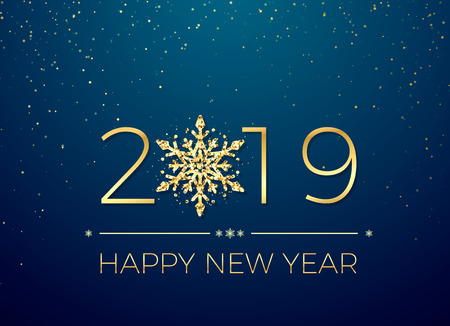 Happy New Year 2019. Greeting card text design. New Years banner with golden numbers and snowflake. Vector illustration isolated on blue background Stock fotó - 127457005
