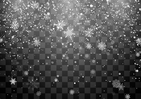 Christmas snow. Snowfall. Falling snowflakes on dark transparent background. Xmas holiday background. Vector illustration  イラスト・ベクター素材