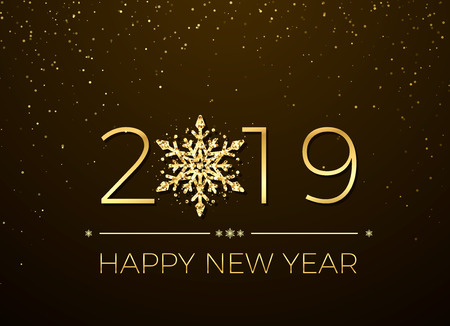 Happy New Year 2019. Greeting card text design. New Years banner with golden numbers and snowflake. Vector illustration