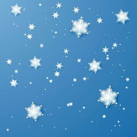 White paper snowflakes. Christmas and New Year decoration. Vector illustration isolated on blue background.  イラスト・ベクター素材