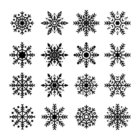 Snowflakes set. Collection of snowflakes silhouette. Christmas and New Year decoration elements. Vector illustration isolated on white background  イラスト・ベクター素材