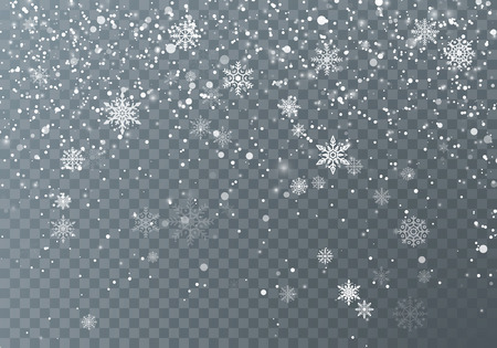 Snowfall. Christmas snow. Falling snowflakes on dark transparent background. Xmas holiday background. Vector illustration