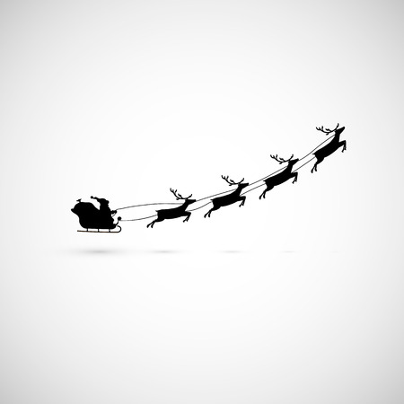 Santa on a sleigh with reindeers fly up. vector illustration  イラスト・ベクター素材