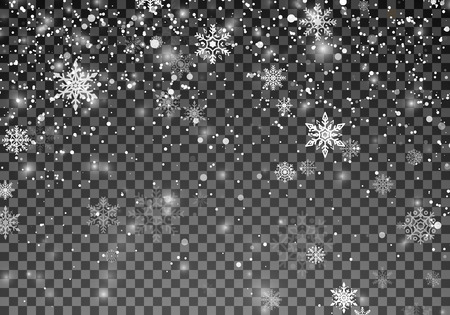 Snowfall template. Christmas snow. Falling snowflakes on transparent background. Xmas holiday background. Vector illustration Illustration