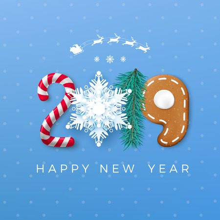 Happy New Year 2019 greeting card. Creative festive lettering. Candy and paper snowflake pine and gingerbread cookie. Vector illustration isolated on blue background  イラスト・ベクター素材