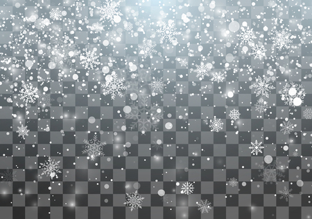 Magic Christmas Snowfall template. Falling snowflakes on transparent background. Abstract magical Xmas holiday background. Vector illustration  イラスト・ベクター素材