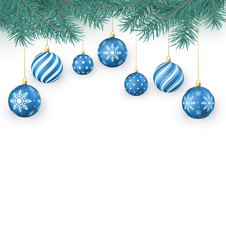 Christmas decoration elements isolated on white. Fir twigs and blue Christmas balls with snowflakes ornament. Xmas baubles. Vector illustration  イラスト・ベクター素材
