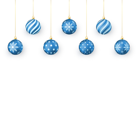 Blue Christmas balls Set. Holiday Decorative Elements. Festival Xmas balls hang on golden string. Vector illustration isolated on white background