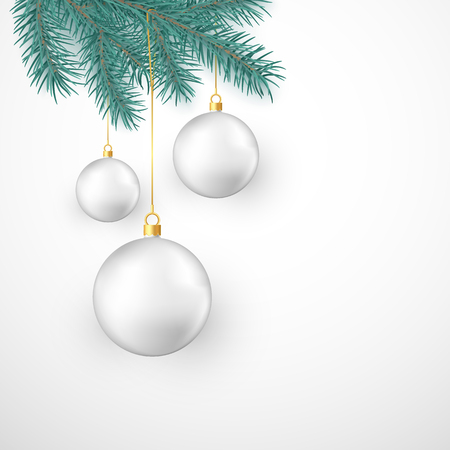 White Christmas balls hanging on fir branch. Winter holiday decoration element. Vector illustration isolated on white background