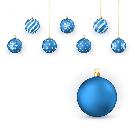 Blue Christmas balls Set. Holiday Decorative Elements. Xmas balls hang on golden string. Vector illustration isolated on white background  イラスト・ベクター素材