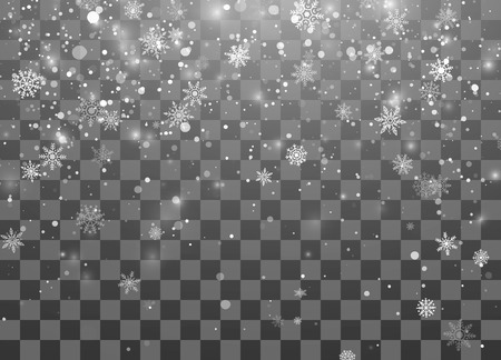 Christmas snow. Magic New Year snowfall background. Abstract Snowfall. Falling snowflakes on dark background. Vector illustration isolated on transparent background