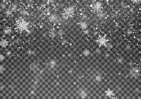 Magiczny świąteczny śnieg. Streszczenie tło wakacje śniegu. Spadające płatki śniegu na ciemnym tle. Ilustracja wektorowa na przezroczystym tle