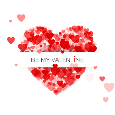 Happy Valentine`s day greeting card cover template. Heart frame with label. Heart consisting of a multitude of hearts with space for text. Vector illustration on white background 免版税图像 - 127129789