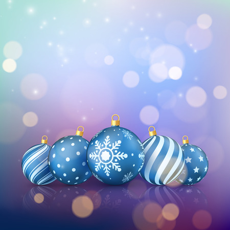 Christmas magic background. Xmas balls on color background with golden bokeh. Vector