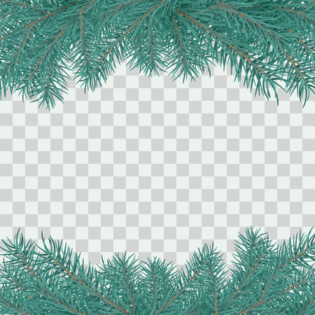 Fir branch border. Winter holiday decoration element on transparent background with space for greeting text. Vector illustration