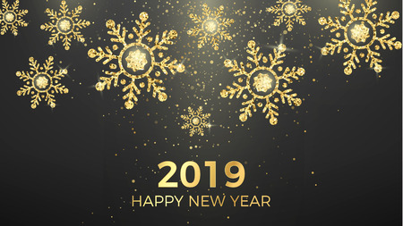 Golden snowflakes and greeting text isolated on black background. New Year and Christmas magic decoration background. Holiday banner or poster. Vector illustration  イラスト・ベクター素材