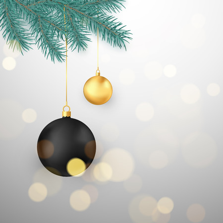 Black and gold Christmas balls hanging on fir branch. Winter holiday decoration element. Vector illustration