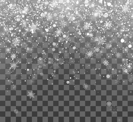 Christmas snow. Magic holiday background. Falling snowflakes on dark background. Abstract Snowfall. Vector illustration isolated on transparent background